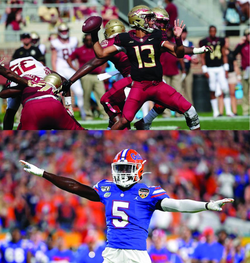Alumni+Jordan+Travis+and+Kaiir+Elam+are+quickly+making+names+for+themselves+as+they+transform+the+face+of+collegiate+football+in+Florida.+Both+men+are+currently+starting+for+the+respective+University+teams%3A+Florida+State+University+and+University+of+Florida+