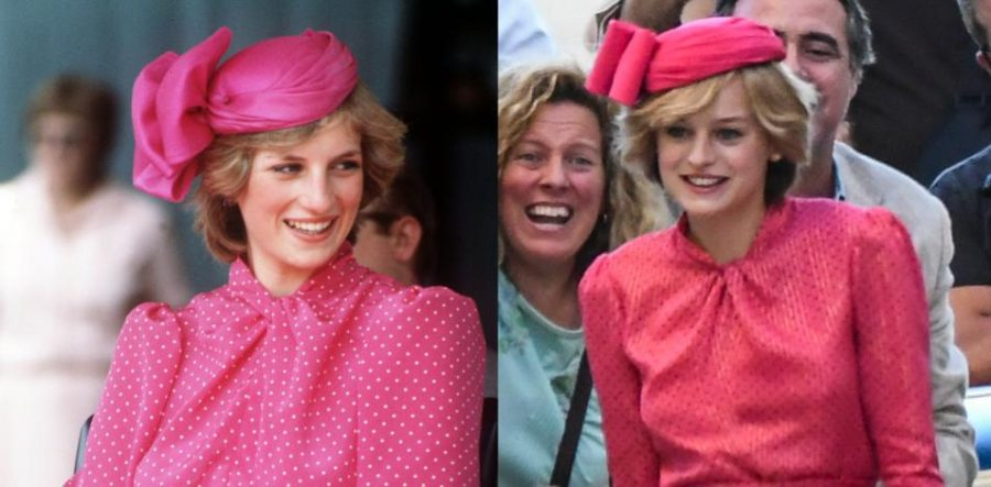 Production values on Netflix's The Crown continue to captivate viewers. For the fourth season, the show's staff recreated some of Princess Diana's most memorable outfits and experiences, including her famous pink dress. On the left is the late Princess Diana and on the right is The Crown's Emma Corrin.