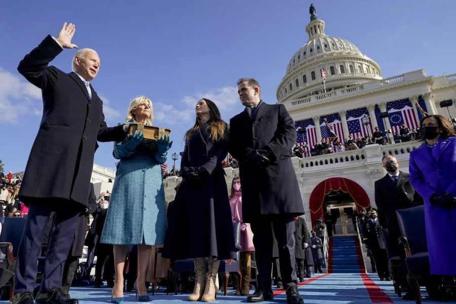 On+Jan.+20%2C+2021%2C+President+Joe+Biden+was+inaugurated+in+front+of+the+Capitol.+First+Lady+Jill+Biden+holds+the+family+Bible+as+Chief+Justice+John+Roberts+swears+in+the+46th+President+of+the+United+States.