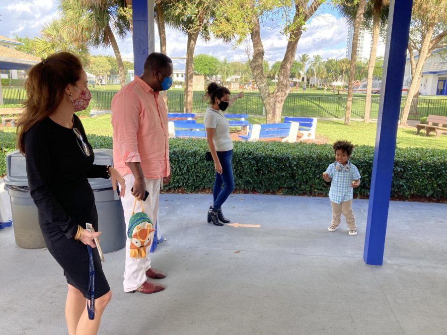 Mrs. Fromson gives a tour of the Lower and Middle School Campus to a prospective family. The School has recently altered the way it showcases the campuses.