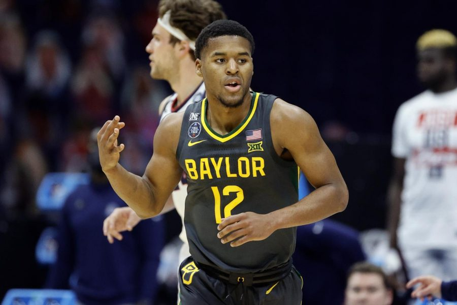 Final Four's Most Outstanding Player Jared Butler celebrates a basket in the Baylor victory over Gonzaga.