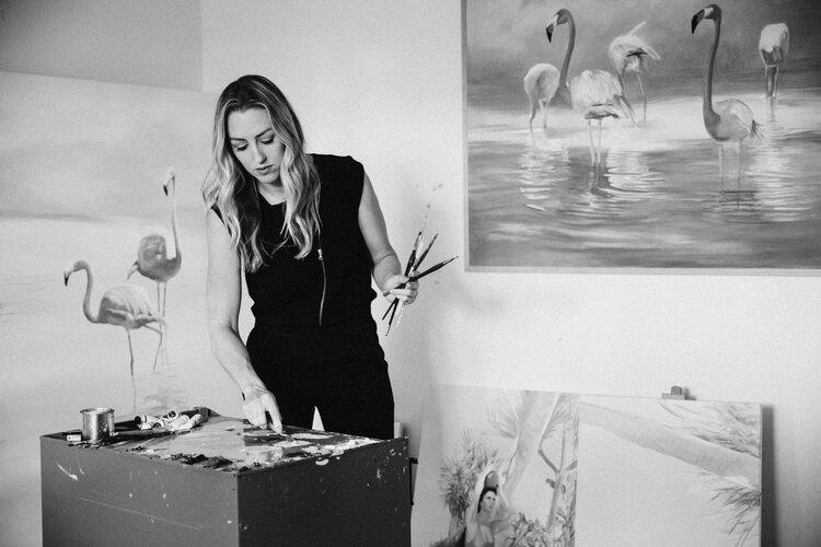 Benjamin alumna and art teacher, Mrs. Rojo at work in her studio.