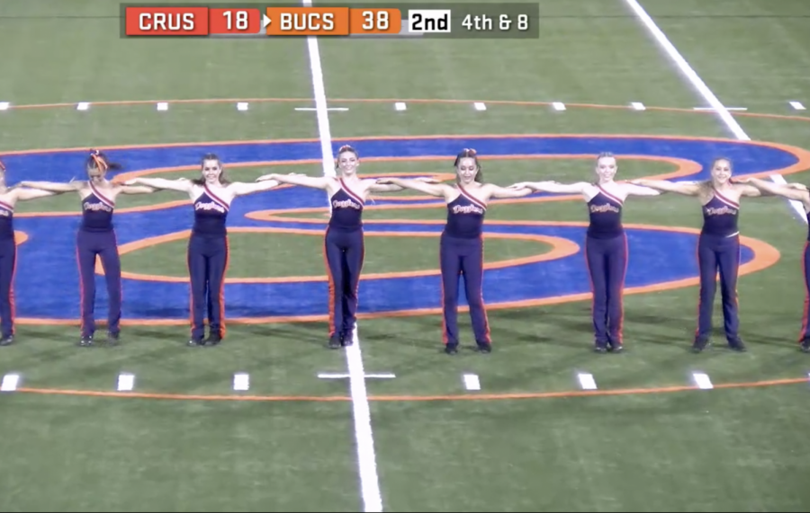 Dazzlers first routine of the year was performed at halftime when the varsity football team faced Dade Christian.