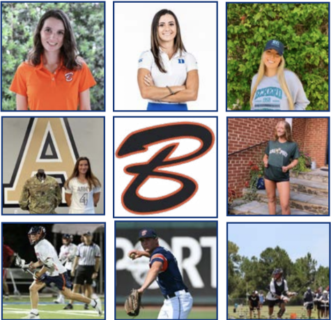 Clockwise from the top left corner is: senior Kiley Malmberg, committed to Emory University for golf; senior Andie Smith, committed to Duke University for golf; senior Reagan Rodriguez, committed to Eckerd College for soccer; senior Addie Bounds, committed to California Polytechnic University for volleyball; senior Jack Regnery, committed to Tufts University for lacrosse; senior Jake Haggard, committed to University of Louisiana Monroe for baseball; senior Luke Pisani, committed to West Point Academy for lacrosse; senior Lily Valentini, committed to West Point Academy for lacrosse.