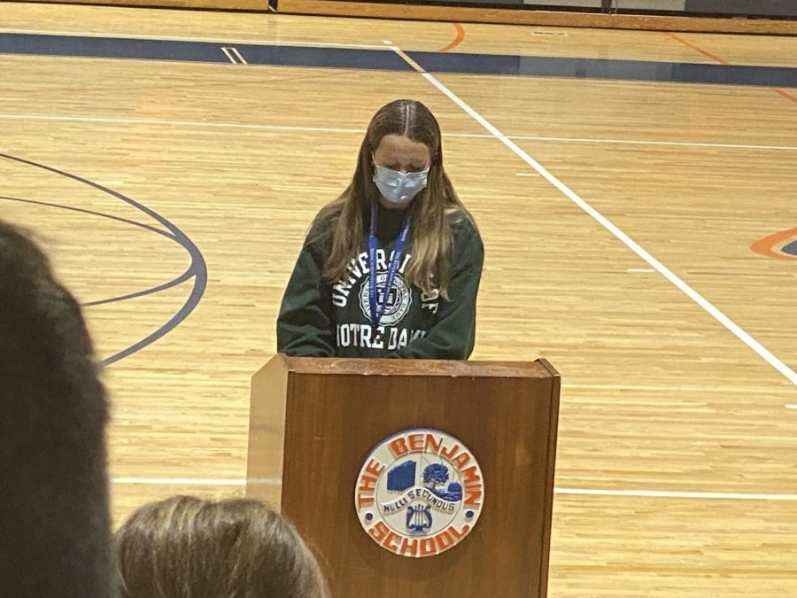 Junior Izzy Molnar gives her candidacy speech for Vice President of the Upper Schools Red Cross Club.